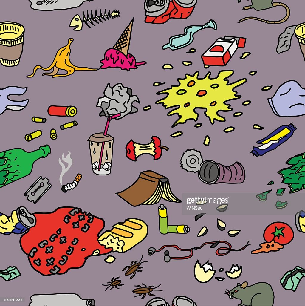 Seamless pattern with street garbage and waste in doodle style. : Vector Art