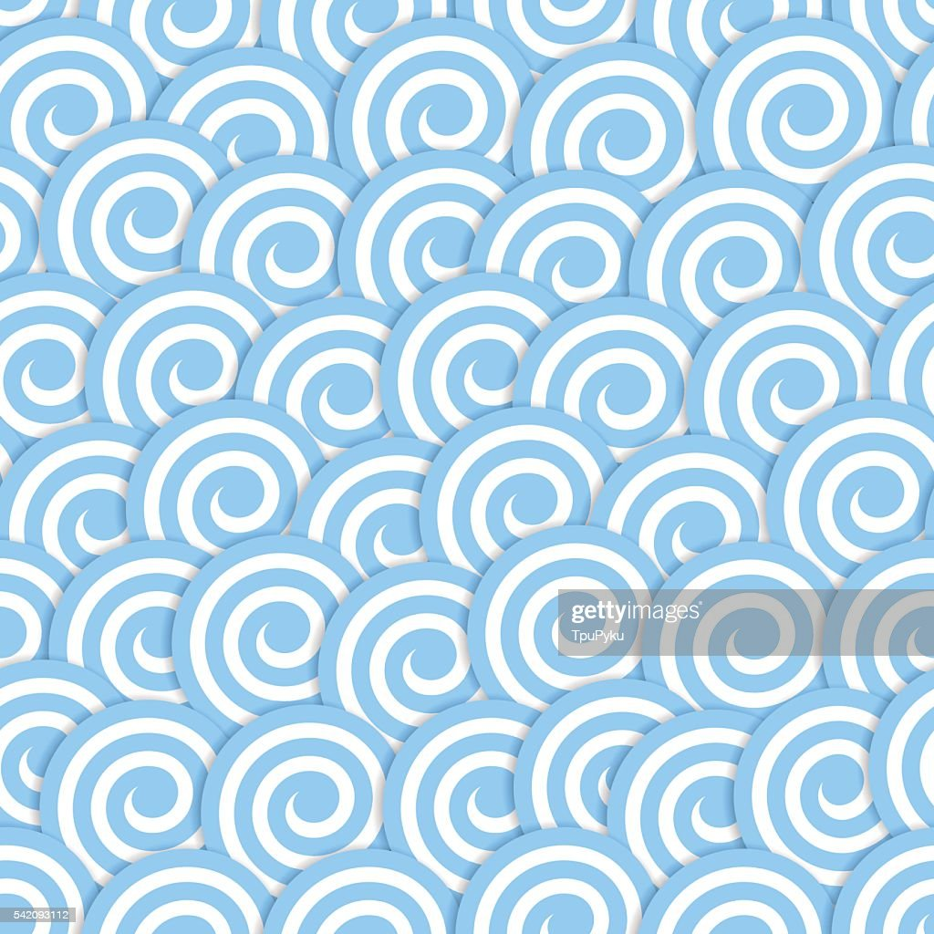 Seamless pattern with stylized blue waves surf