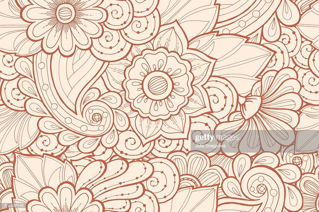Seamless pattern with stylized flowers. Ethnic background.