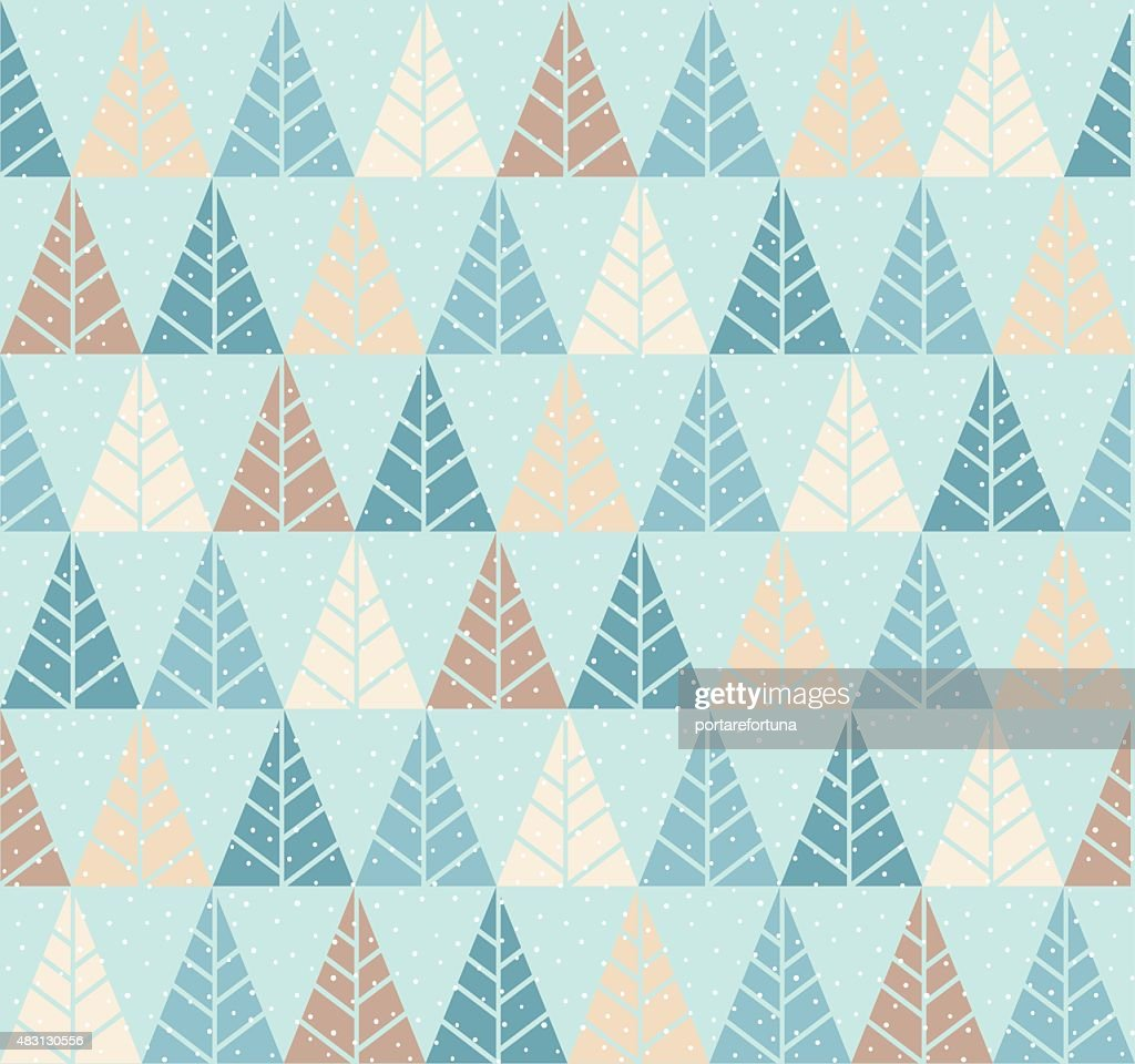 Seamless pattern with stylized tree and snowfall.