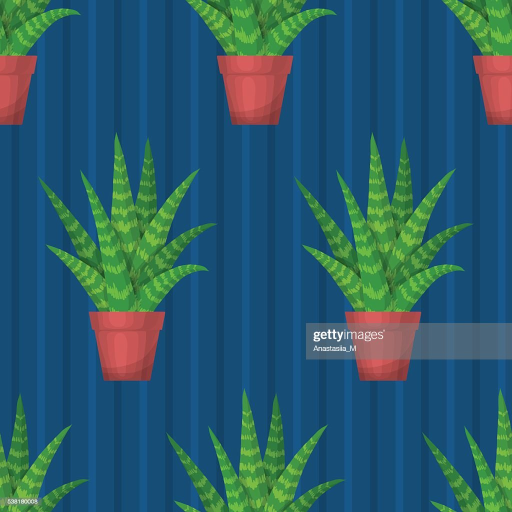 Seamless pattern with succulent.