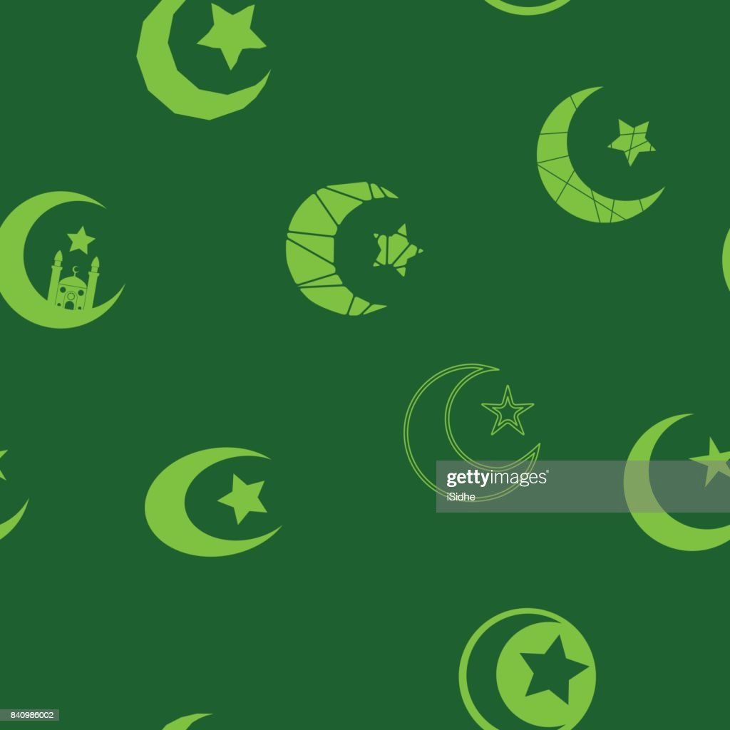 Seamless Pattern With Symbol Of Islam Crescent Moon Vector Art