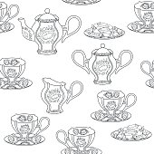 Seamless pattern with tea set