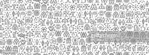 illustrations, cliparts, dessins animés et icônes de modèle sans couture avec des icônes de travail d'équipe - représentation humaine