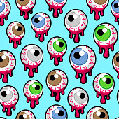 Seamless pattern with the bloody zombie or alien eyeballs. Fun Halloween illustration, blue background.