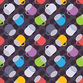 Seamless pattern with the colored coffee mugs