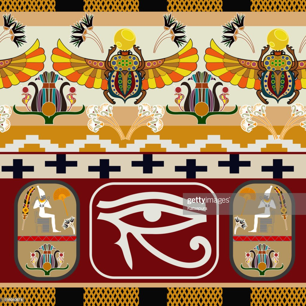 Seamless pattern with the eye of tgod Ra. Vector illustration