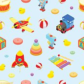 Seamless pattern with the toys