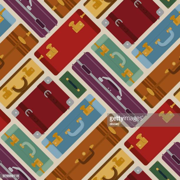 Seamless pattern with travel bags and suitcases