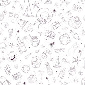 Seamless pattern with travel icons. Vacation, holiday, voyage. Hand drawn vector background