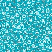 Seamless pattern with travel line icons