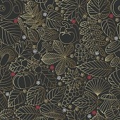 Seamless pattern with tree leaves, mushrooms and vegetables