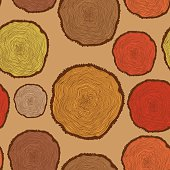 Seamless pattern with Tree Rings in vintage colors.Bright Seamle
