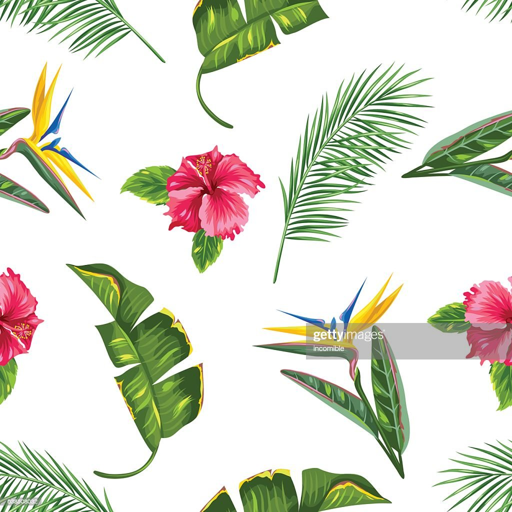 Seamless pattern with tropical leaves and flowers. Palms branches, bird