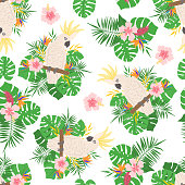 Seamless pattern with tropical leaves, flowers and parrots.