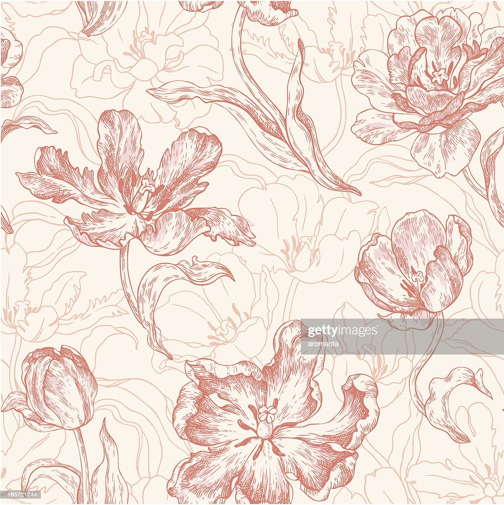 seamless pattern with tulips : stock illustration