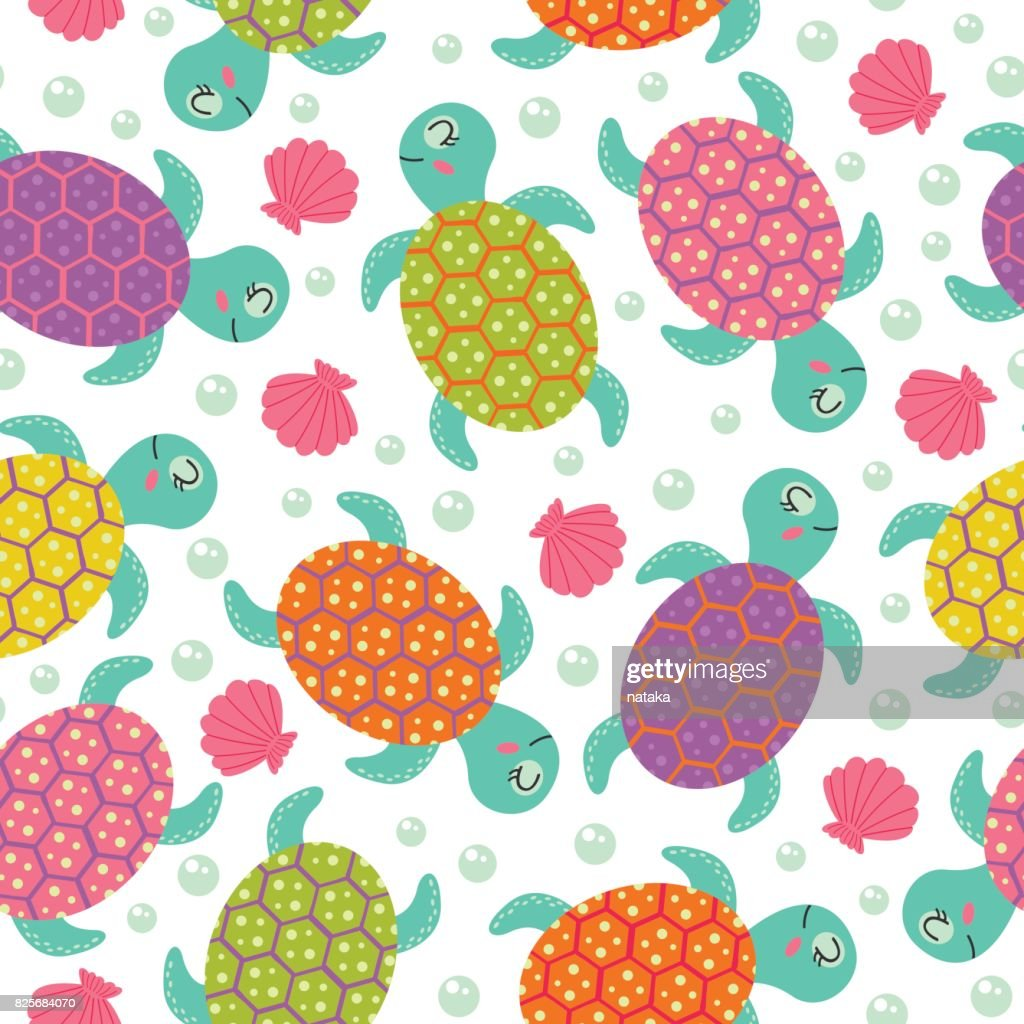 seamless pattern with  turtle