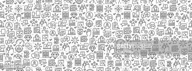 nahtloses muster mit user experience icons - fokusgruppe stock-grafiken, -clipart, -cartoons und -symbole
