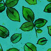 Seamless pattern with vector freehand watercolour drawings of gr