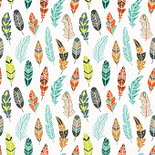 Seamless pattern with vintage ethnic feathers in pastel colors