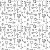 Seamless pattern with vintage keys.