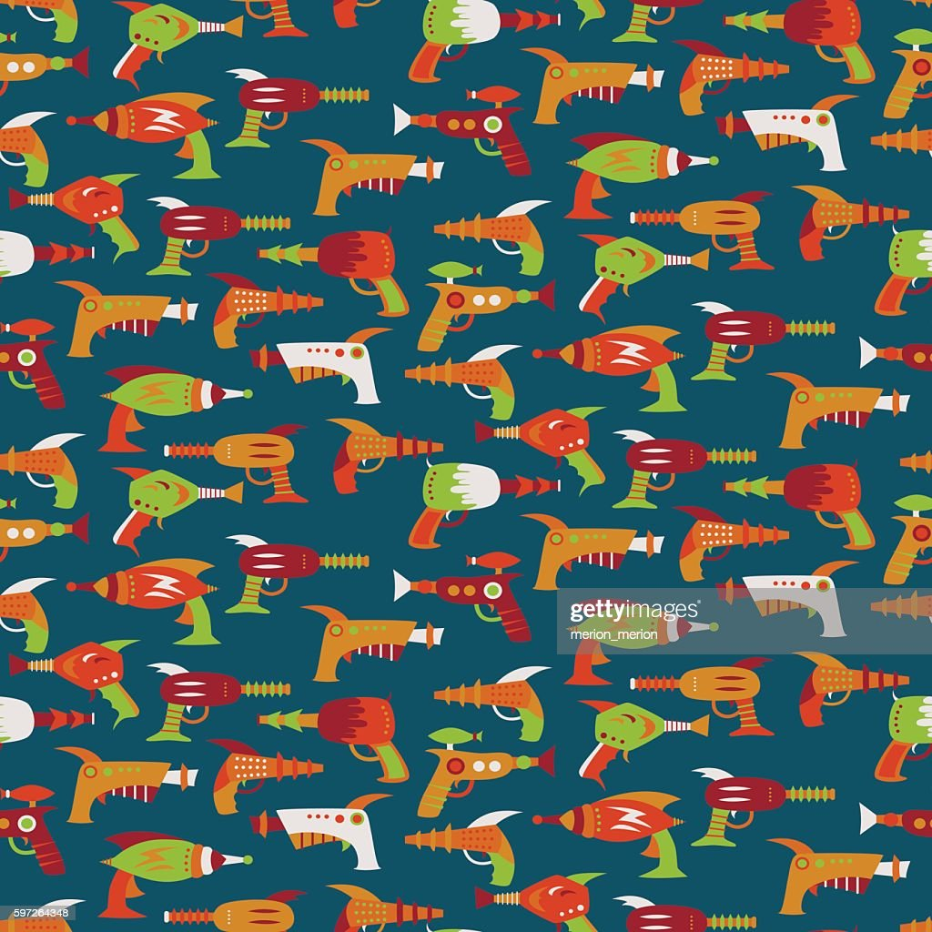 Seamless pattern with vintage space weapons