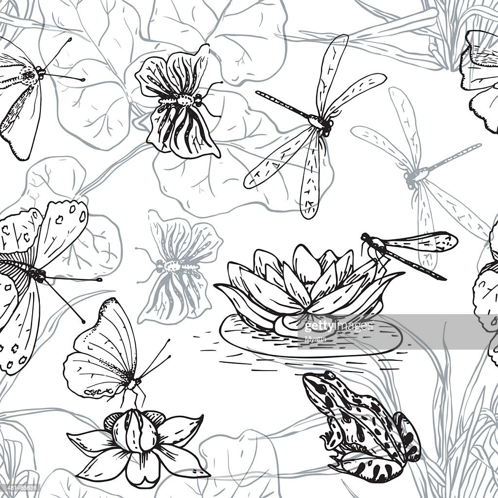 Seamless pattern with water lilies, frogs, dragonflies and butterflies, monochrome