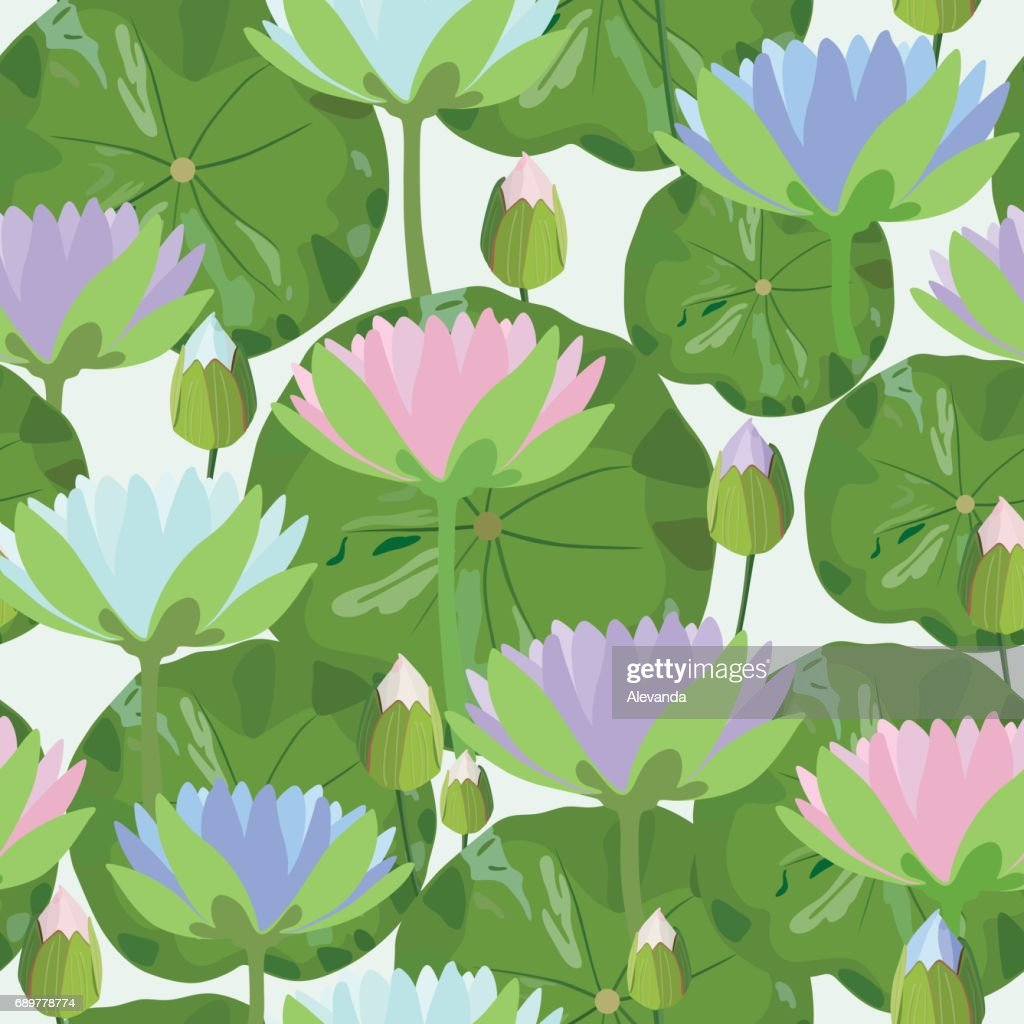 Seamless Pattern With Water Lily Flowers And Leaves Vector