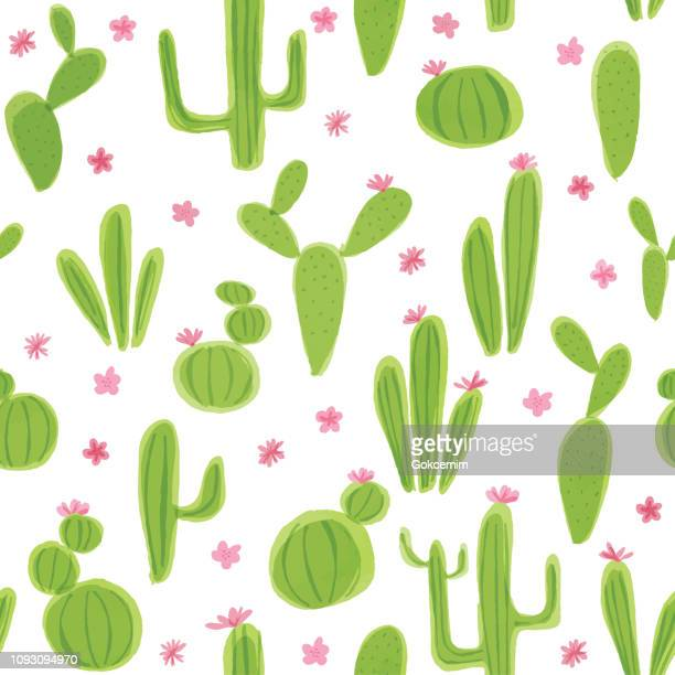 Seamless Pattern with Watercolor Cactus Plants. Variety of different types of cactus, hand drawn
