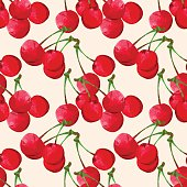 Seamless pattern with watercolor cherry