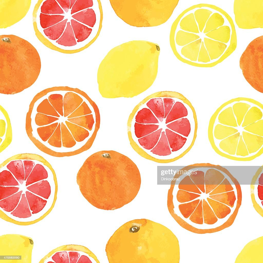 Seamless pattern with watercolor citrus: lemon, orange, grapefru