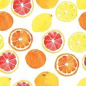 Seamless pattern with watercolor citrus: lemon, orange, grapefru