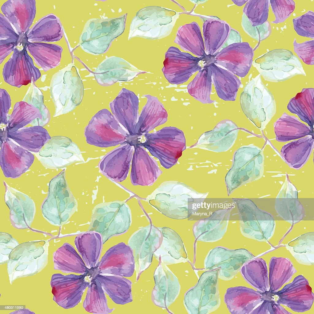 Seamless pattern with watercolor clematis
