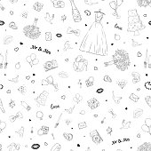 Seamless pattern with wedding icons. Wedding, marriage, bridal. Hand drawn vector background