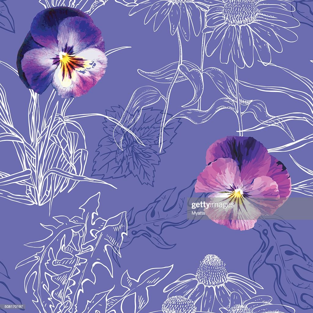 Seamless pattern with white contours plants and realistic pansy