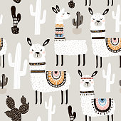 Seamless pattern with white llama, cactus and hand drawn elements. Creative childish texture. Great for fabric, textile Vector Illustration