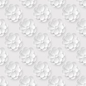 Seamless pattern with white paper flowers.