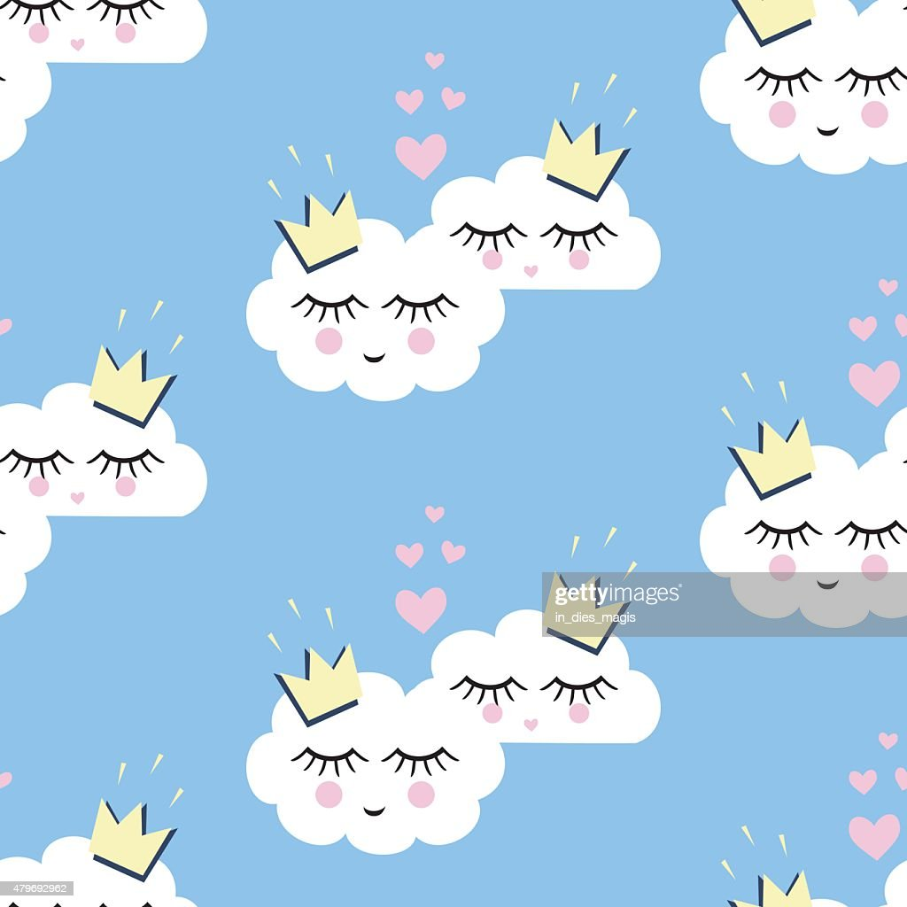 Seamless pattern with white smiling sleeping clouds in love