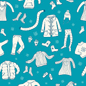 Seamless pattern with winter clothes motive