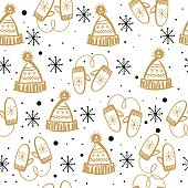Seamless pattern with winter clothes