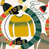 Seamless pattern with winter clothing. Warm woollies. Clothes for cold weather. Mittens, hats, scarf, sweater with ornament