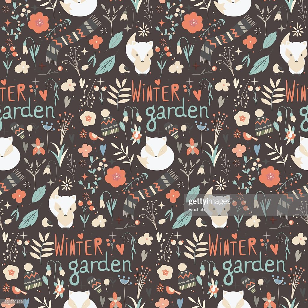 Seamless pattern with winter garden flowers, foxes and scarf