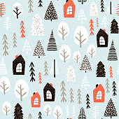 Seamless pattern with winter houses, wood, trees, and ink drawn elements. Creative christmas background. Vector Illustration