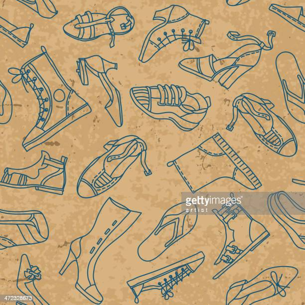 Seamless pattern with woman shoes