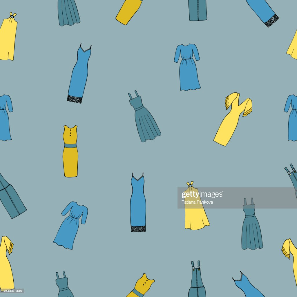 Seamless pattern with women's dresses on a blue background.