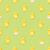 Seamless pattern with yellow chickens. Vector illustration.