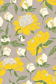 Seamless pattern with yellow peony flowers. Vector illustration.