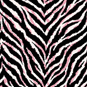 Seamless pattern with zebra fur print. Vector illustration. Exotic wild animalistic texture. Pastel pink and creamy colors.