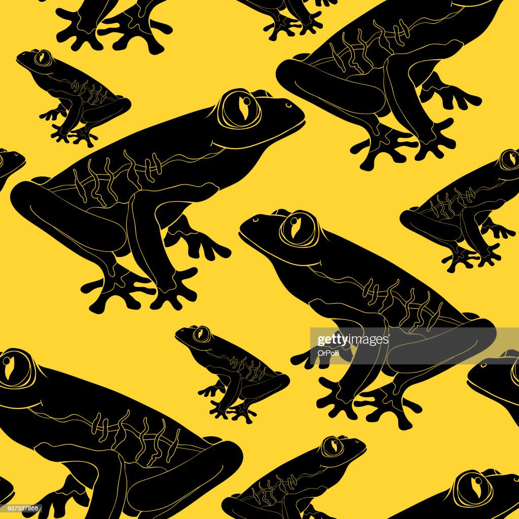 seamless pattern woody frog is red-eyed. vector illustration
