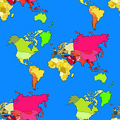 seamless pattern world map continents and countries. vector illustration